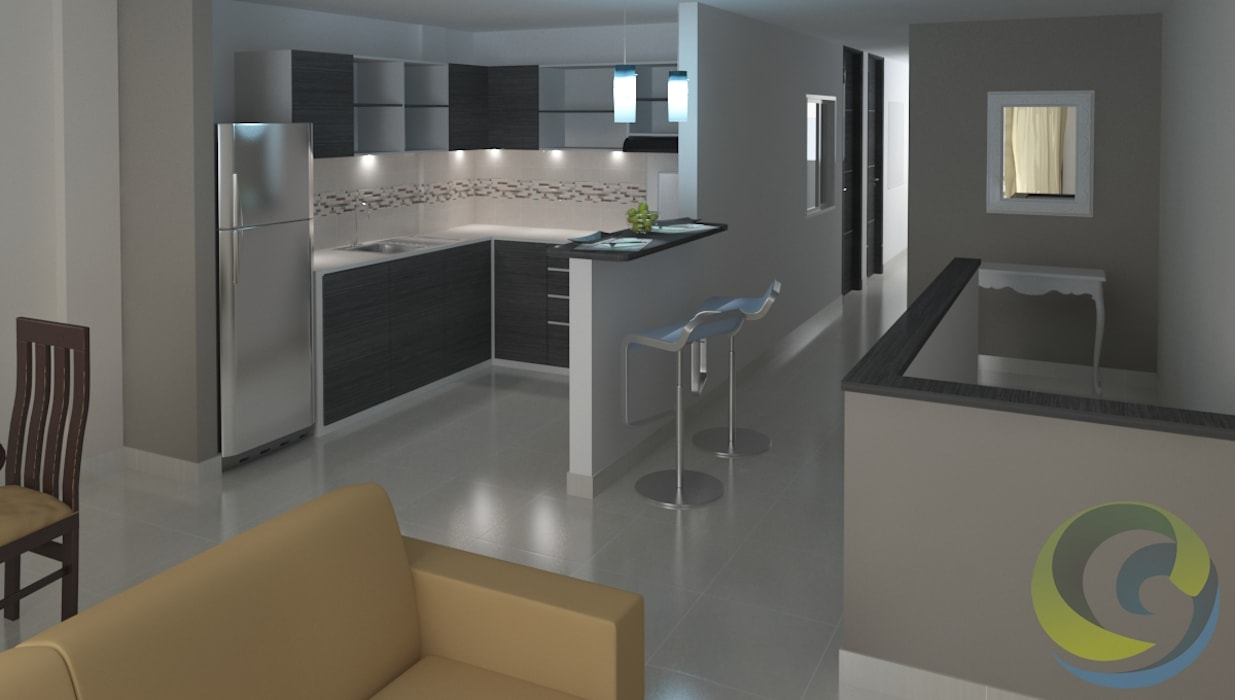 Moderne Küchen von EcoDESING S.A.S DISEÑO DE ESPACIOS CON INGENIO Modern Keramik