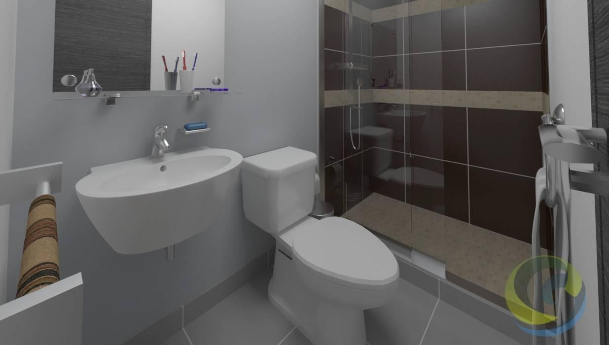 EcoDESING S.A.S DISEÑO DE ESPACIOS CON INGENIO Modern bathroom Ceramic Grey