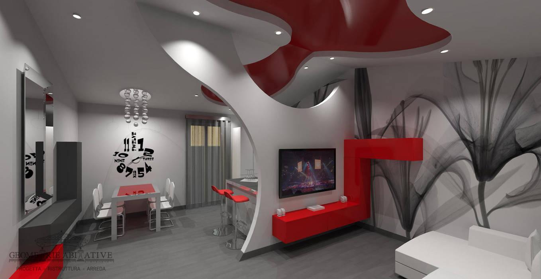 Soggiorno moderno con parete in cartongesso e soffitto for Soggiorno stile moderno