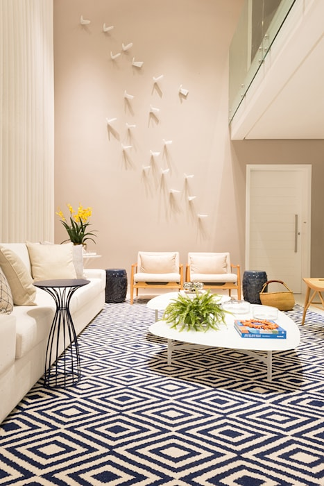 Renata Matos Arquitetura & Business ห้องนั่งเล่นของตกแต่งและอุปกรณ์จิปาถะ ลินิน Multicolored