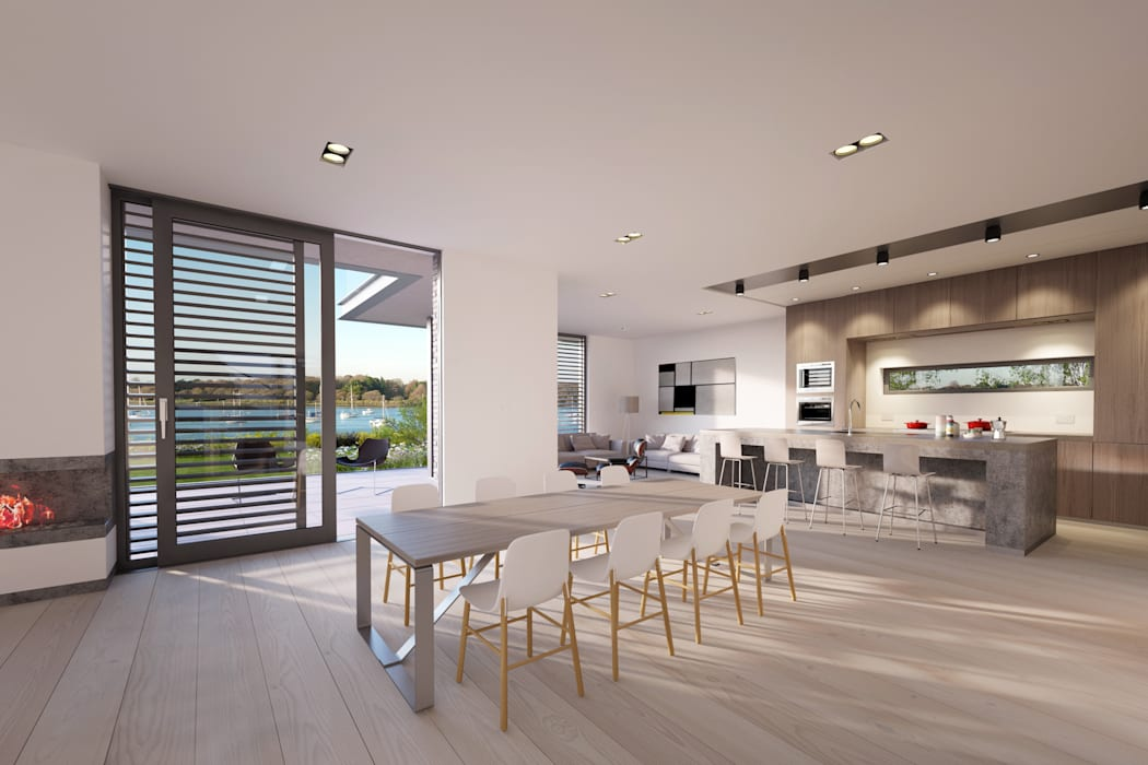 Coastal residence in conservation area overlooking Chichester Harbour, West Sussex by Des Ewing Residential Architects Сучасний