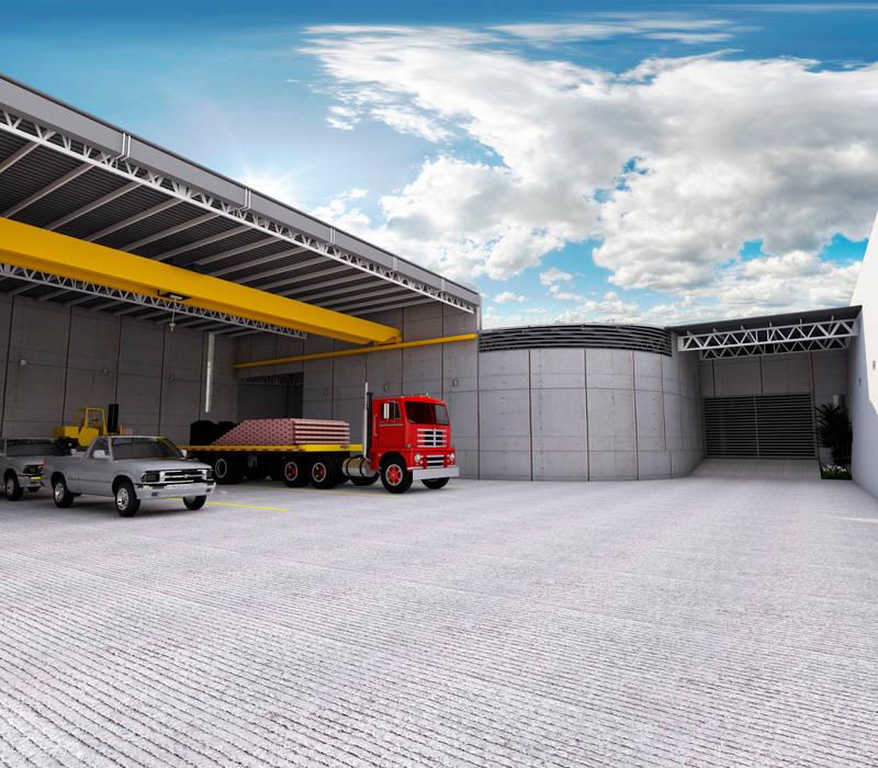 Vista anden - entrada a almacén B Estudios y despachos industriales de PRISMA ARQUITECTOS Industrial Concreto