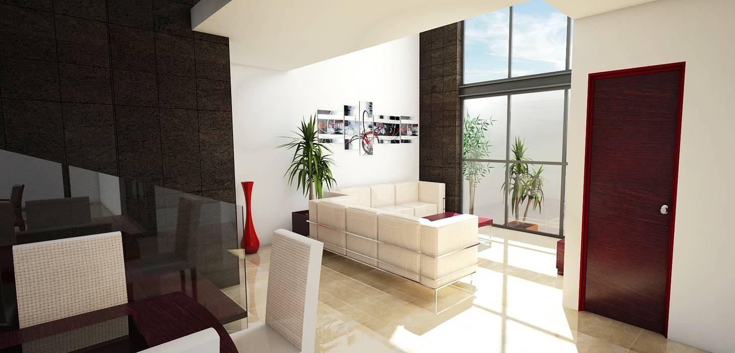 Sala en doble altura: Casas de estilo moderno por PRISMA ARQUITECTOS