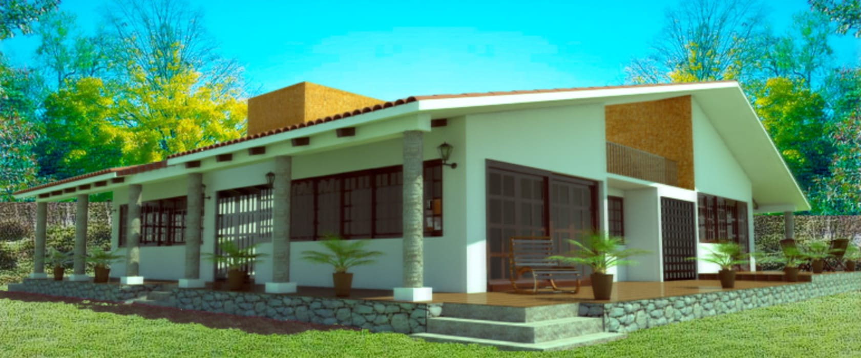 Fachada lateral: Casas de estilo rústico por PRISMA ARQUITECTOS