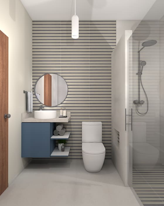 Baño Constructora e Inmobiliaria Catarsis Baños de estilo minimalista Cerámico Azul