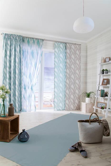 Indes Dekorationsstoff Nora und Gardine Noel Indes Fuggerhaus Textil GmbH Wohnzimmer im Landhausstil