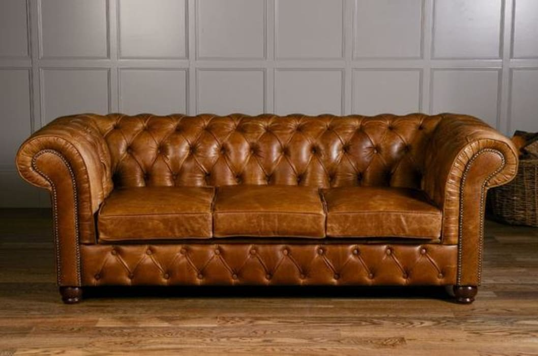 Birley Brown Leather Chesterfield Sofa par Modish Living Rustique Cuir Gris