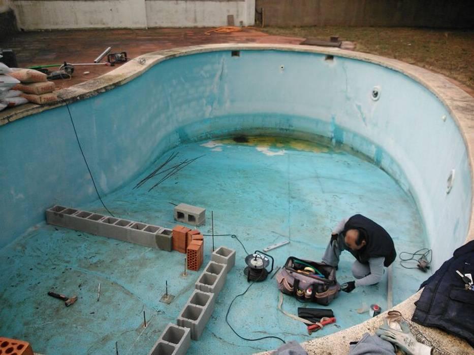 Construcción de escaleras de obra de Diaz Pools