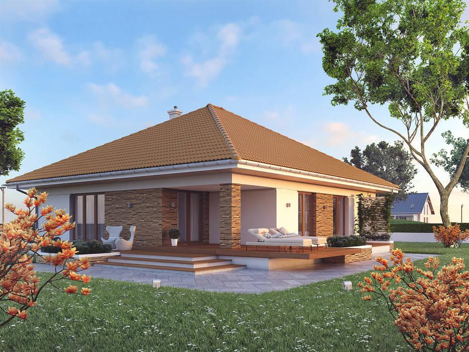 Wizualizacja projektu domu Ariel 6 Nowoczesne domy od Biuro Projektów MTM Styl - domywstylu.pl Nowoczesny