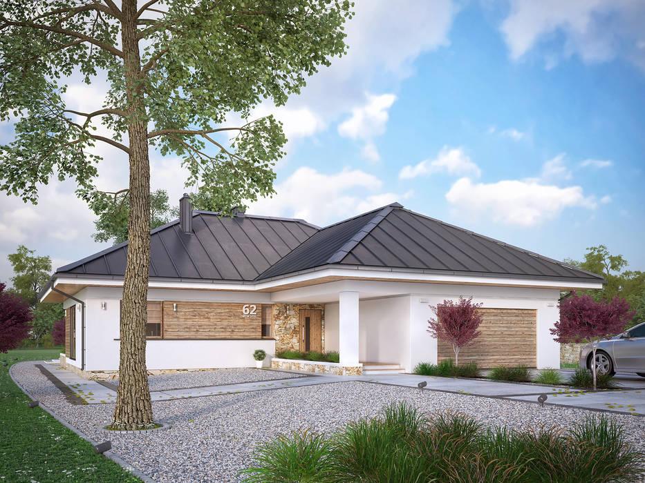 Wizualizacja projektu domu Ambrozja 8 Nowoczesne domy od Biuro Projektów MTM Styl - domywstylu.pl Nowoczesny