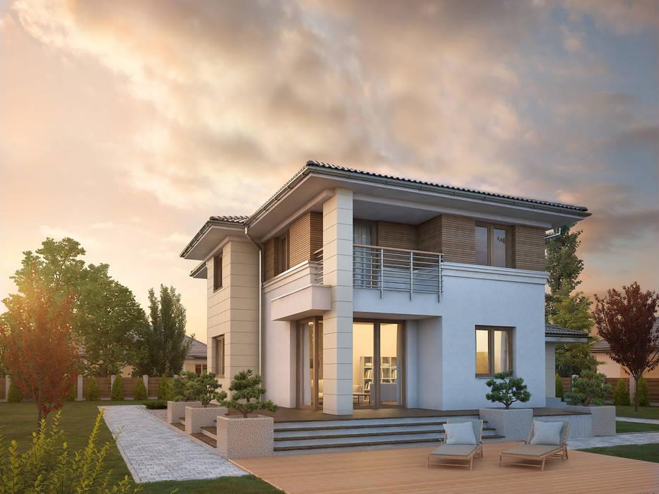 Wizualizacja projektu domu Cyprys 8 Nowoczesne domy od Biuro Projektów MTM Styl - domywstylu.pl Nowoczesny