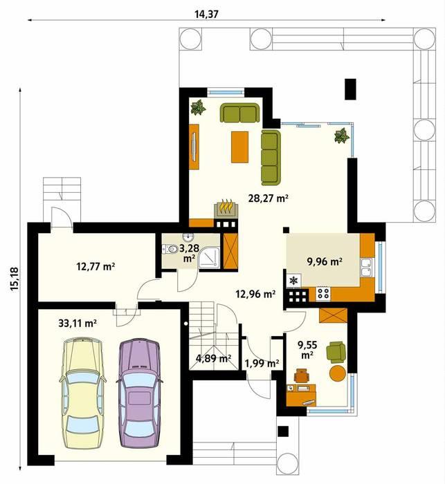 Rzut parteru projektu domu Cyprys 8: styl , w kategorii Ściany zaprojektowany przez Biuro Projektów MTM Styl - domywstylu.pl,Nowoczesny