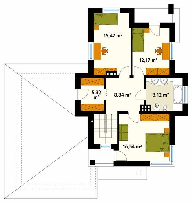 Rzut piętra projektu domu Cyprys 8 Nowoczesne ściany i podłogi od Biuro Projektów MTM Styl - domywstylu.pl Nowoczesny