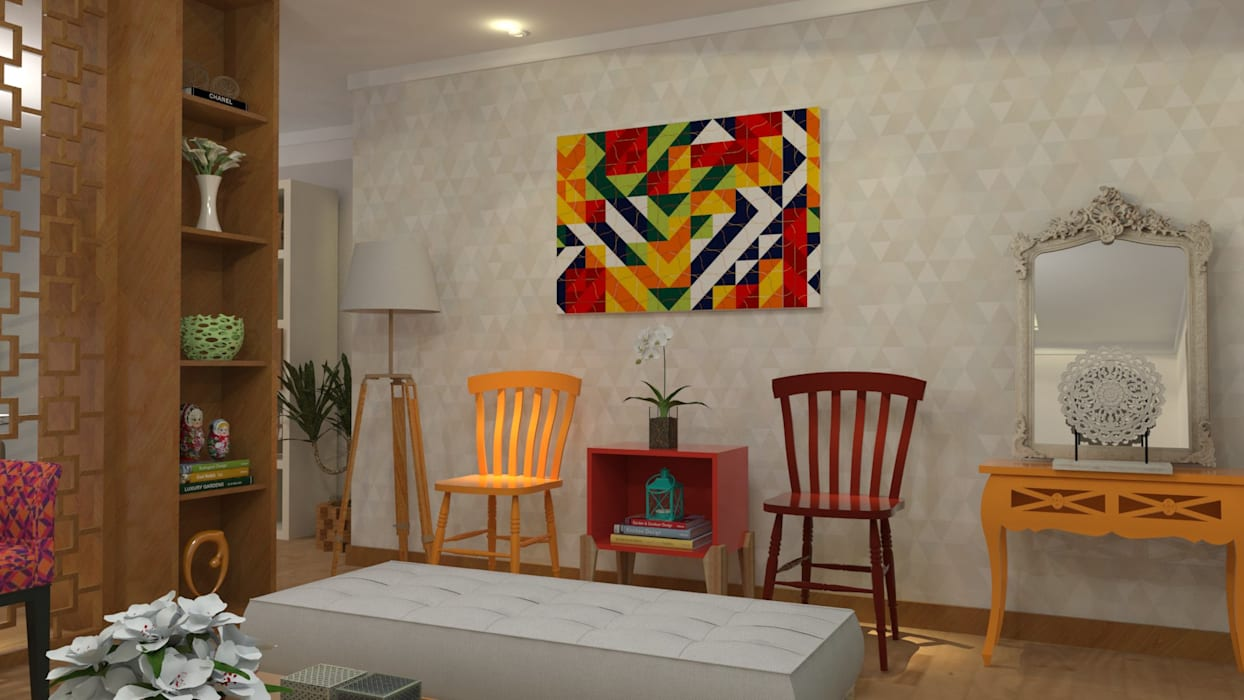 现代客厅設計點子、靈感 & 圖片 根據 Maria Julia Faria Arquitetura e Interior Design 現代風
