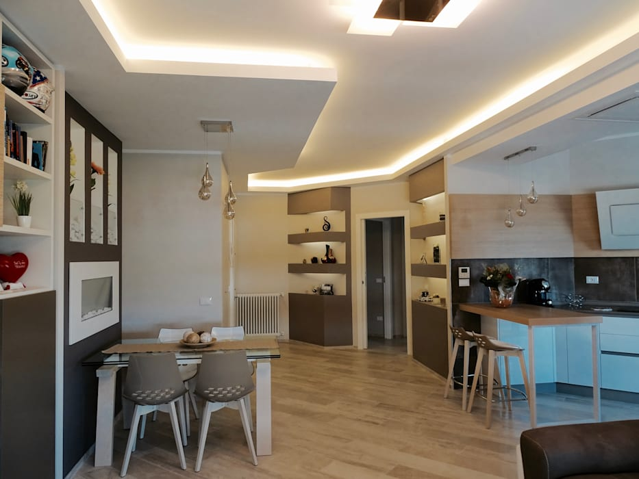 Soggiorno con cucina aperta sala da pranzo in stile di for Cucina con sala da pranzo