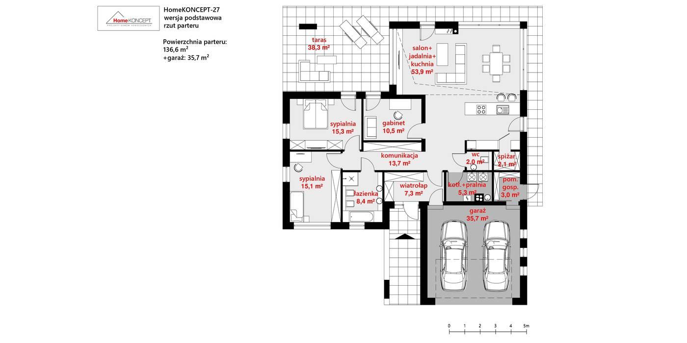 Projekt domu HomeKONCEPT 27 od HomeKONCEPT | Projekty Domów Nowoczesnych Nowoczesny