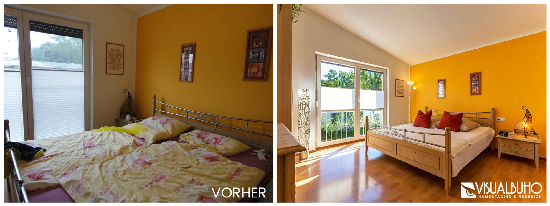 Vorher-nachher hauptschlafzimmer: schlafzimmer von visual buho ...