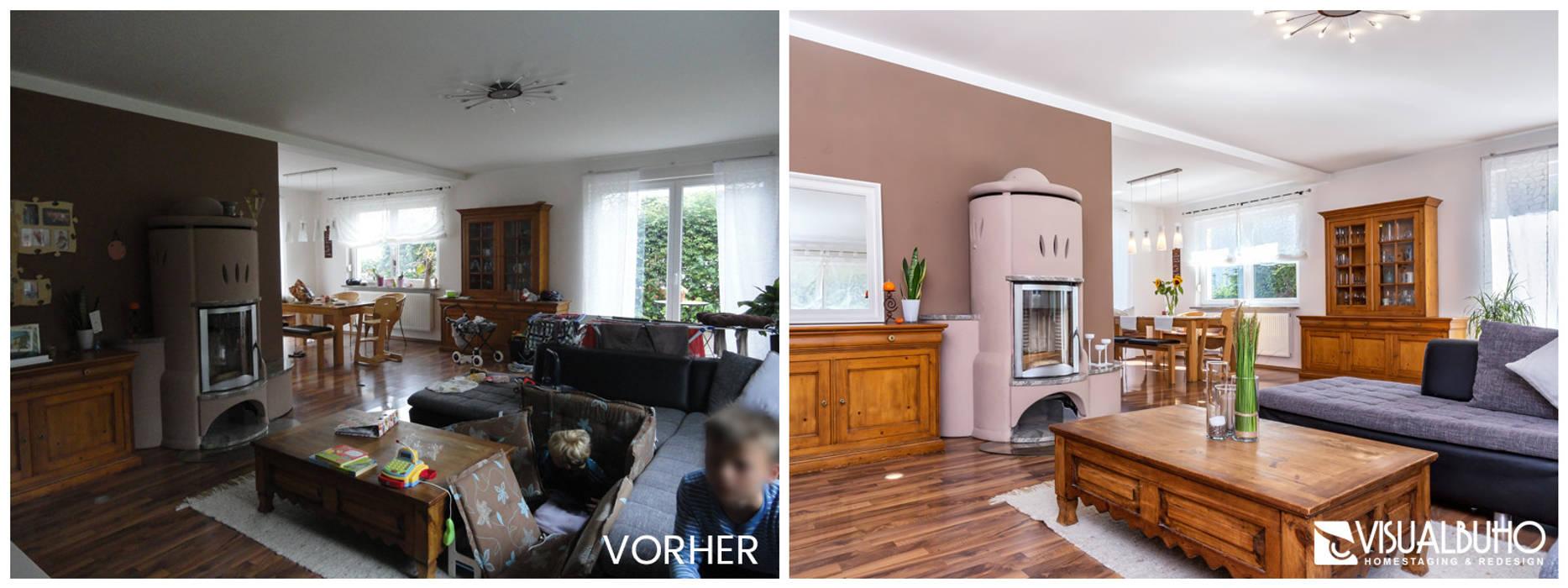 Vorher-nachher wohnbereich wohnzimmer im landhausstil von ...