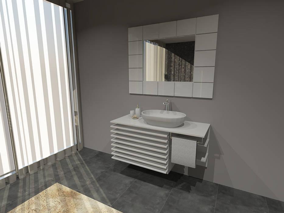 Projectos de interiores 3D chave na mão  3D interior design projects turn key www.intense-interiores.com  Projetos interiores 3D  : Casas de banho  por Intense mobiliário e interiores;