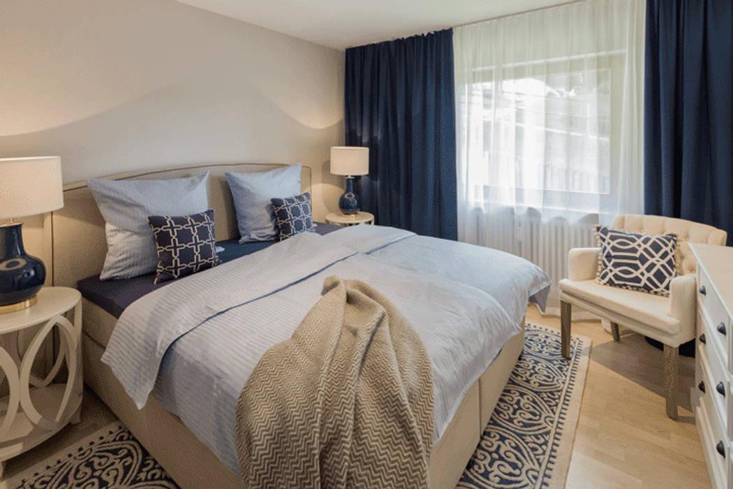 Schlafzimmer in beige, weiss und blau tönen schlafzimmer im ...
