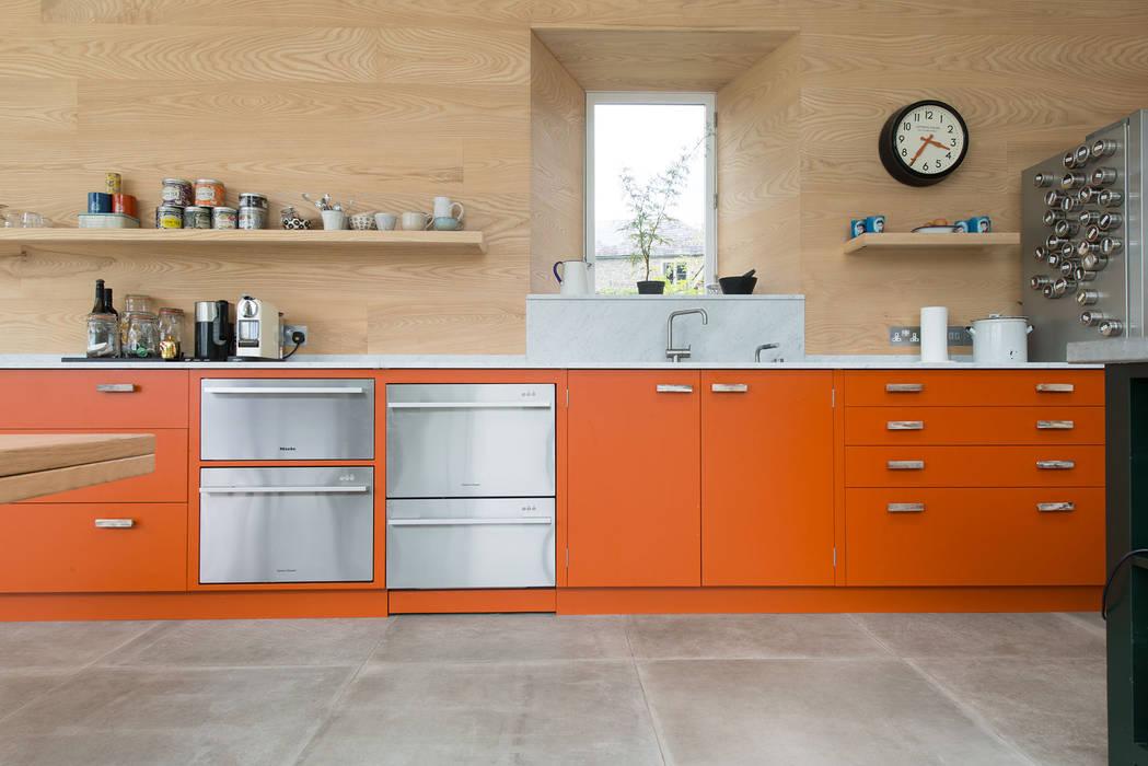 Striking Kitchen Cabinetry Craigie Woodworks Modern style kitchen Engineered Wood Orange