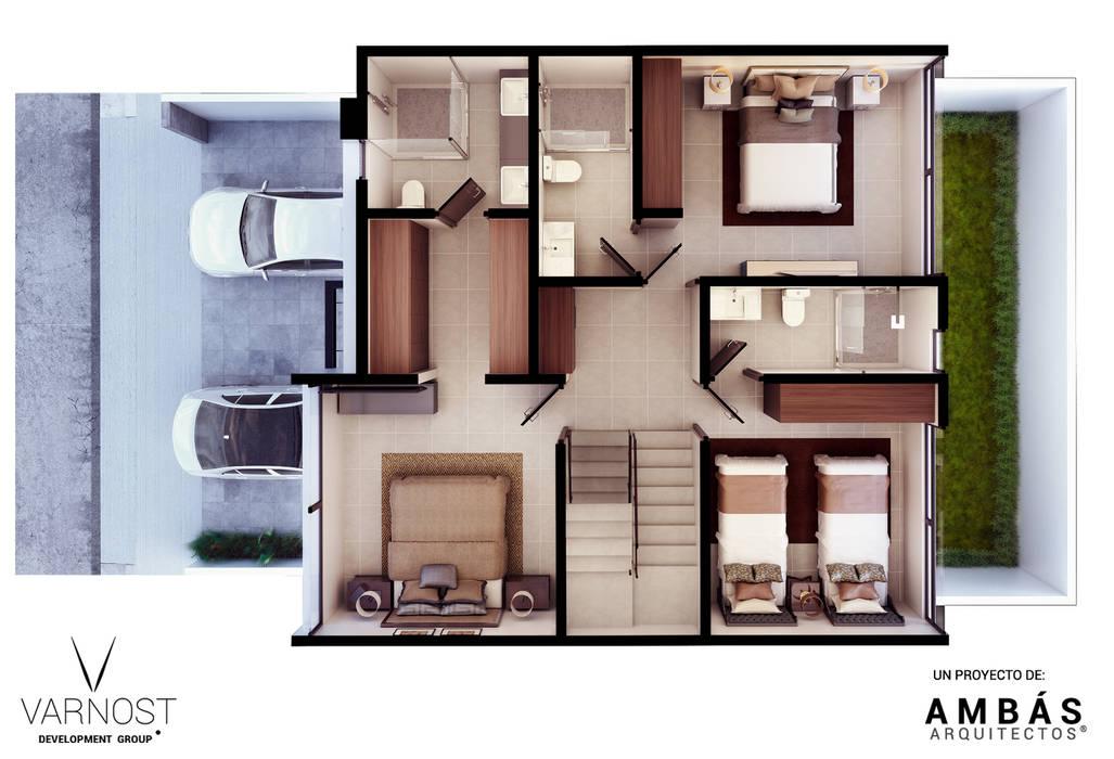 Primer Nivel: Baños de estilo  por Ambás Arquitectos