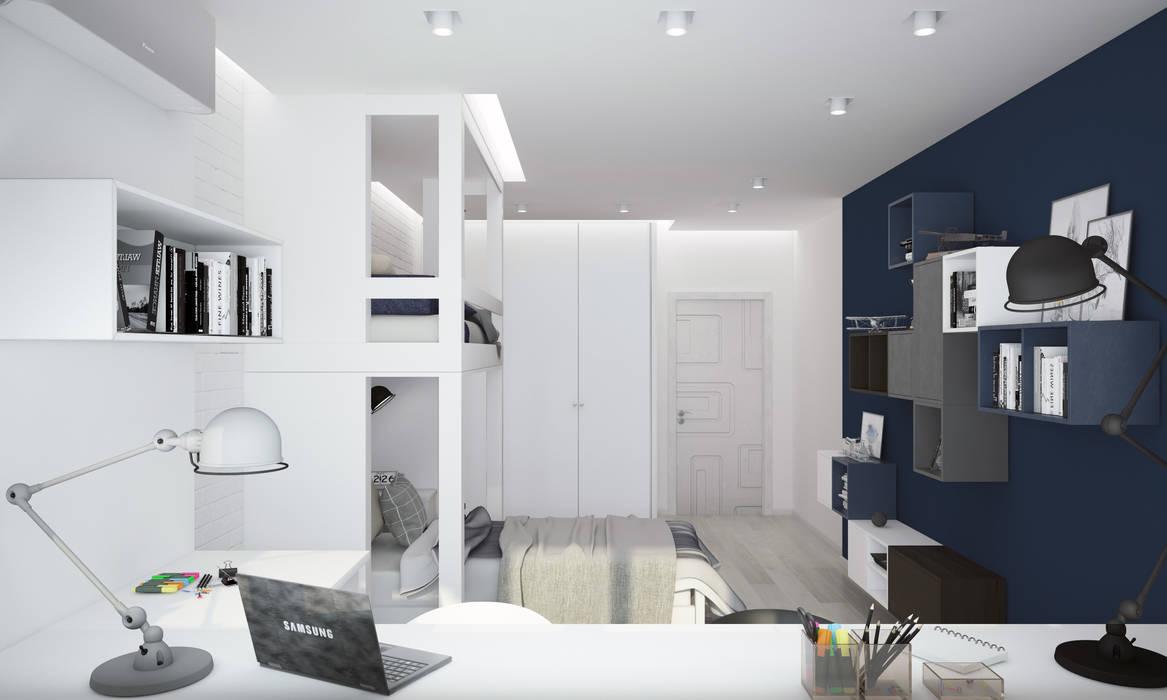 """Детская комната """"blue wall"""":  Bedroom by СТУДИЯ   'ДА' ДАРЬИ АРХИПОВОЙ,"""