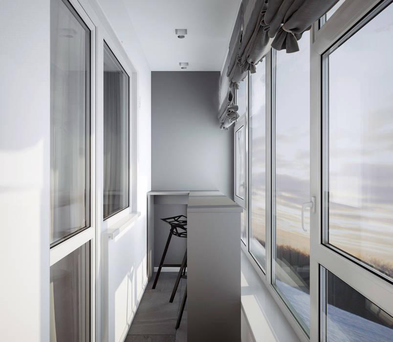 "Балкон спальни ""mountains"" Modern style bathrooms by СТУДИЯ 'ДА' ДАРЬИ АРХИПОВОЙ Modern Aluminium/Zinc"