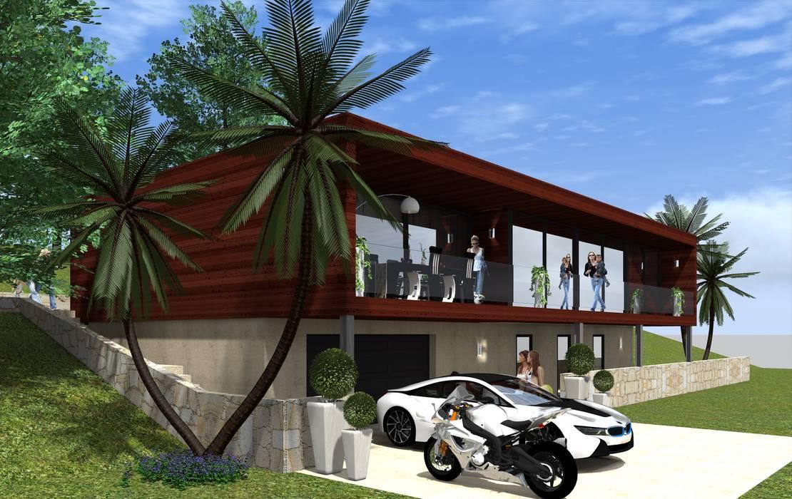 Imagem 3 D Casas modernas por Lethes House Moderno Madeira Acabamento em madeira