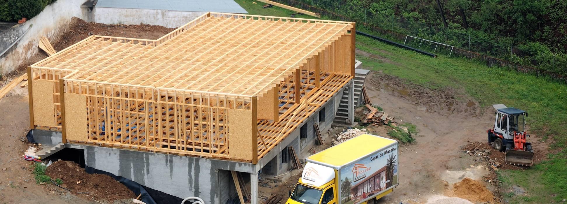 Estrutura Casas modernas por Lethes House Moderno Madeira Acabamento em madeira