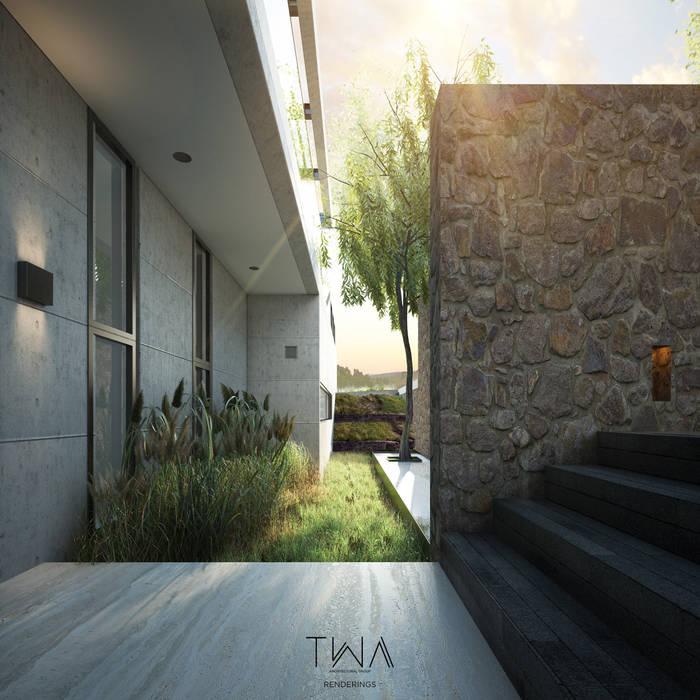 Acceso/Jardín frontal: Jardines de estilo moderno por TW/A Architectural Group