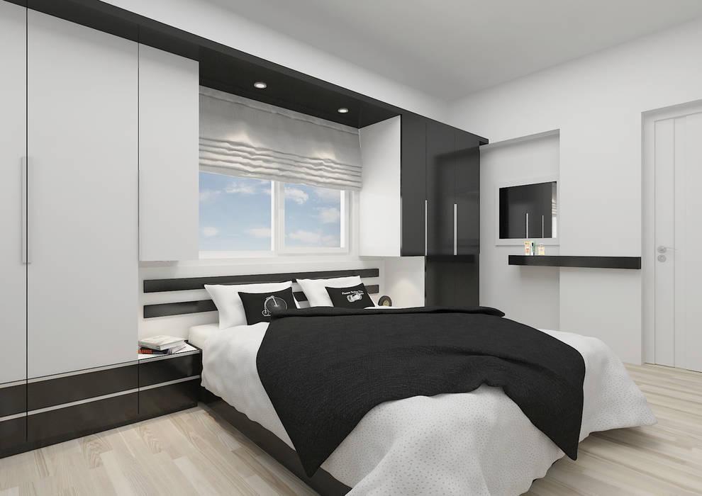 PRATIKIZ MIMARLIK/ ARCHITECTURE – BM, Yatak Odası:  tarz Yatak Odası, Modern Orta Yoğunlukta Lifli Levha