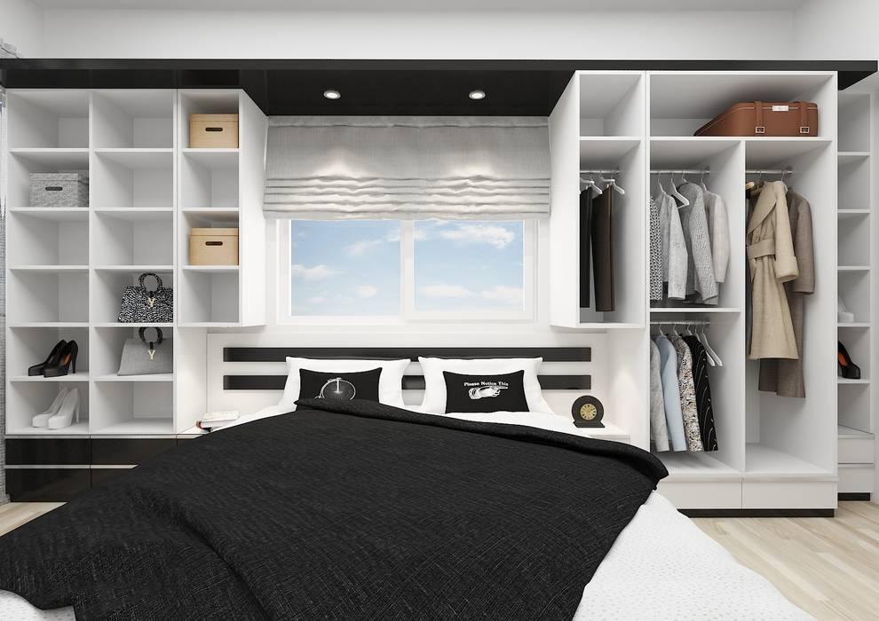 Dormitorios de estilo minimalista de PRATIKIZ MIMARLIK/ ARCHITECTURE Minimalista Tablero DM