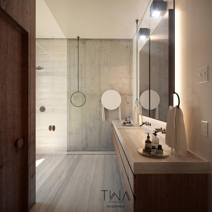 Baño principal: Baños de estilo  por TW/A Architectural Group