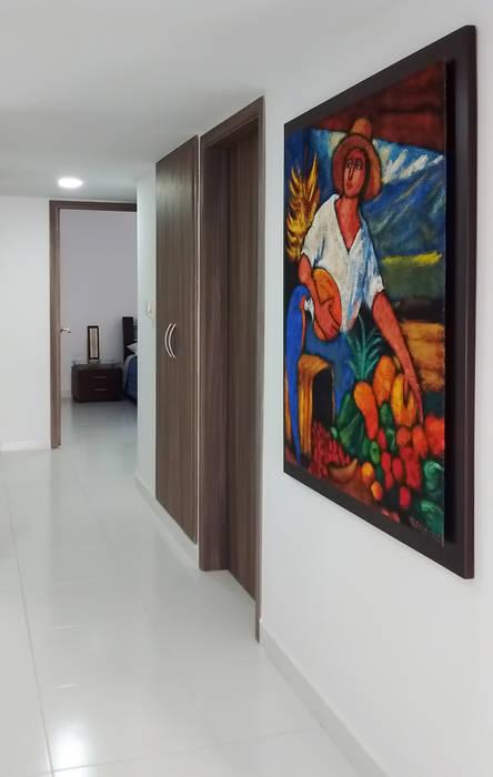 Hall de alcobas Pasillos, vestíbulos y escaleras de estilo moderno de Remodelar Proyectos Integrales Moderno Tablero DM