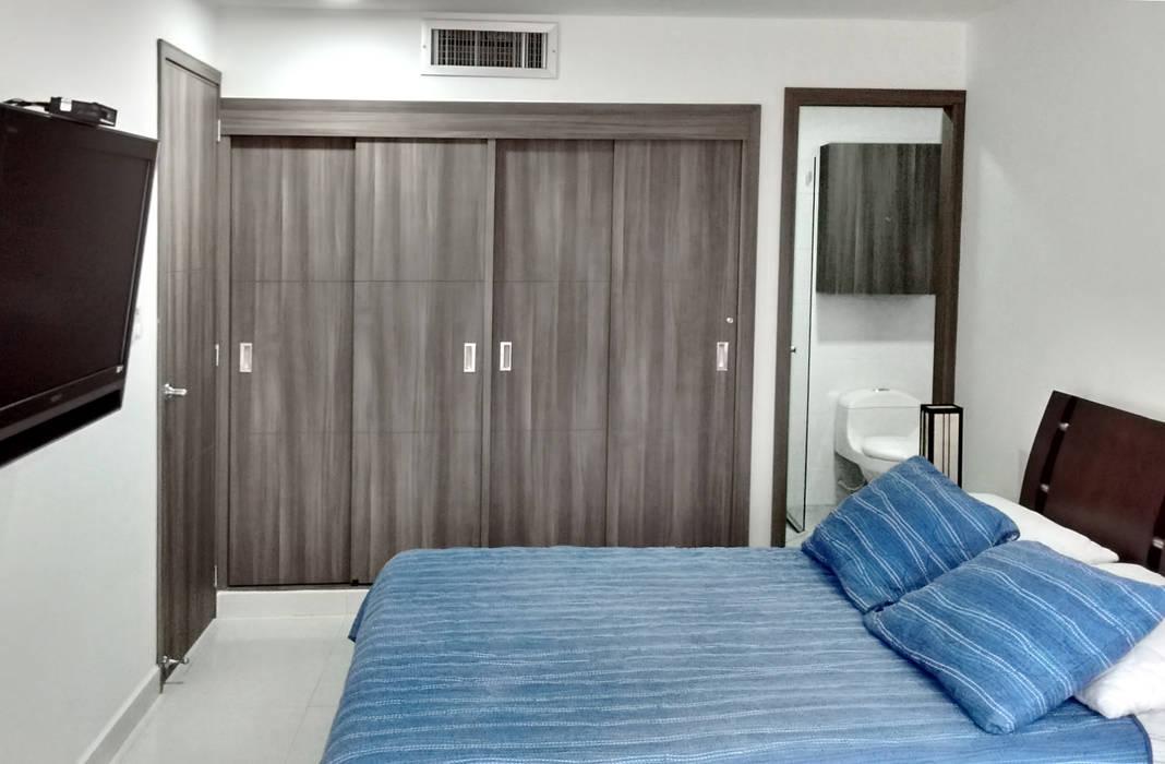 Alcoba principal: Habitaciones de estilo  por Remodelar Proyectos Integrales