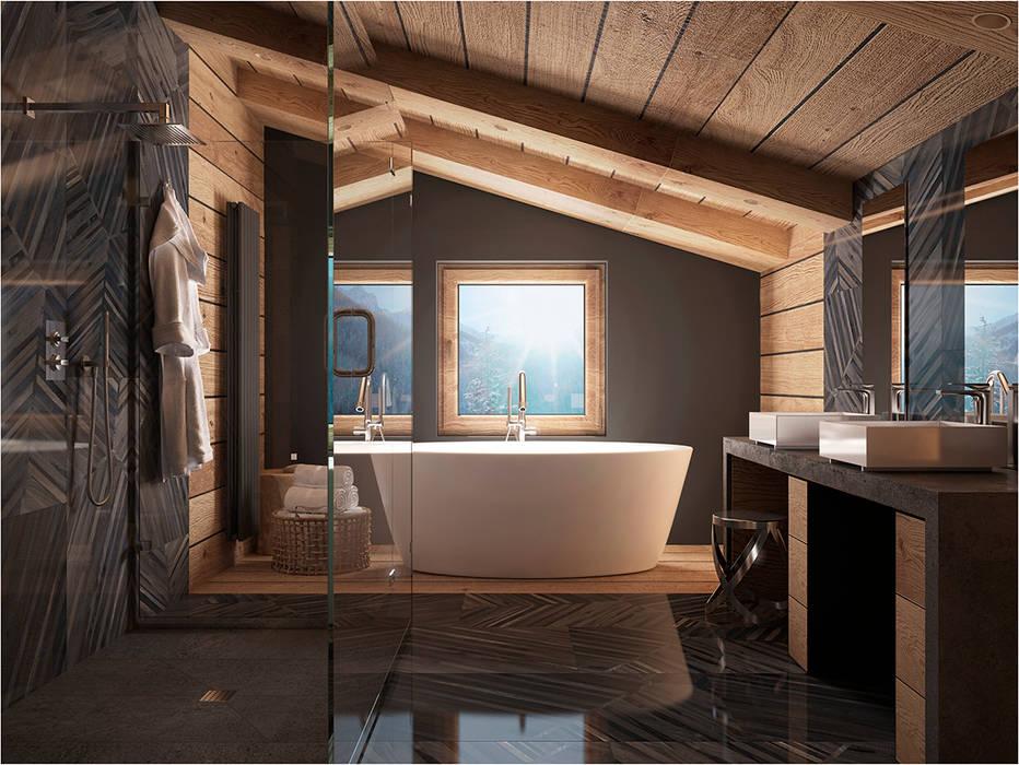 Дизан-проект шикарного дома в стиле шале: Ванные комнаты в . Автор – GM-interior, Кантри