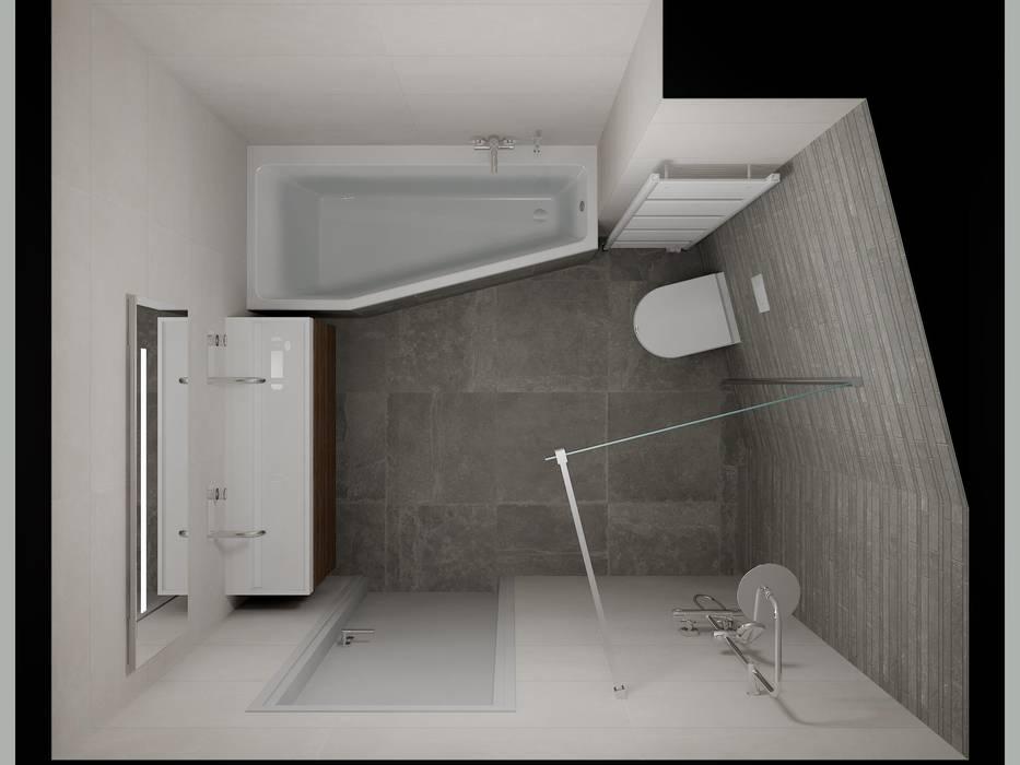 3d badkamer ontwerp met zichtbaar lijnenspel : moderne badkamer door