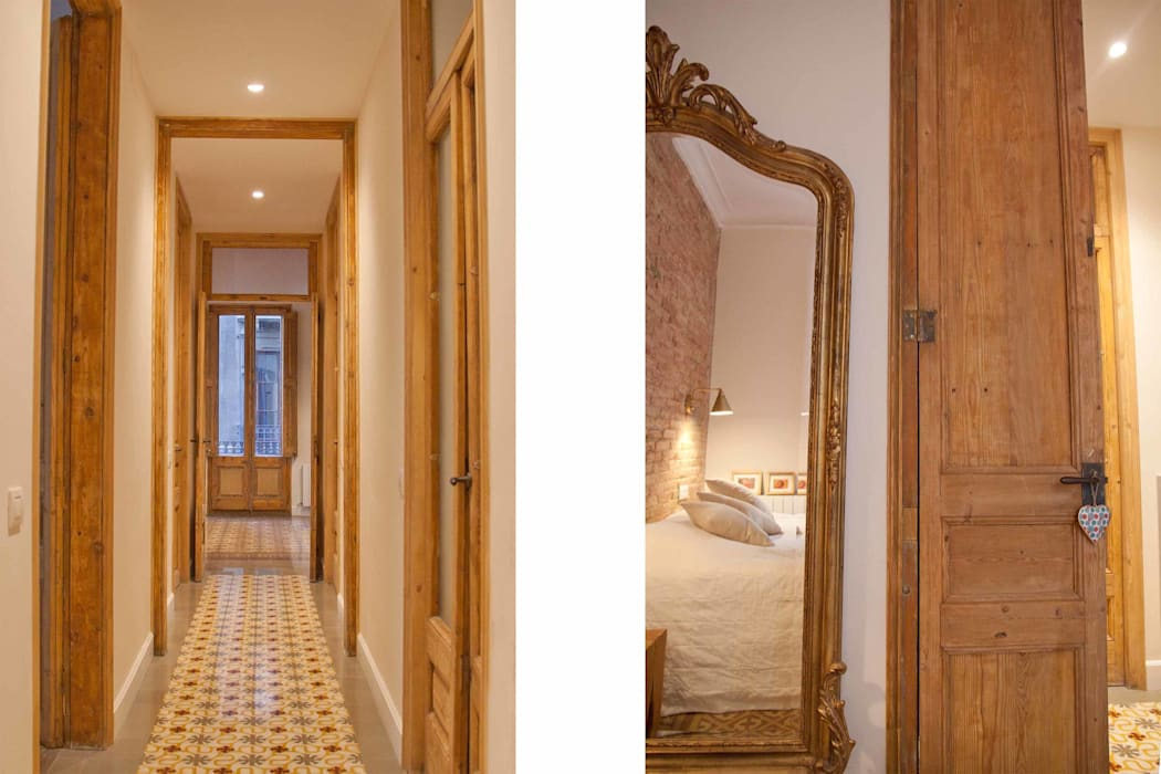 Pasillo. Hall. Tiles. Pasillos, vestíbulos y escaleras de estilo moderno de Brick Serveis d'Interiorisme S.L. Moderno