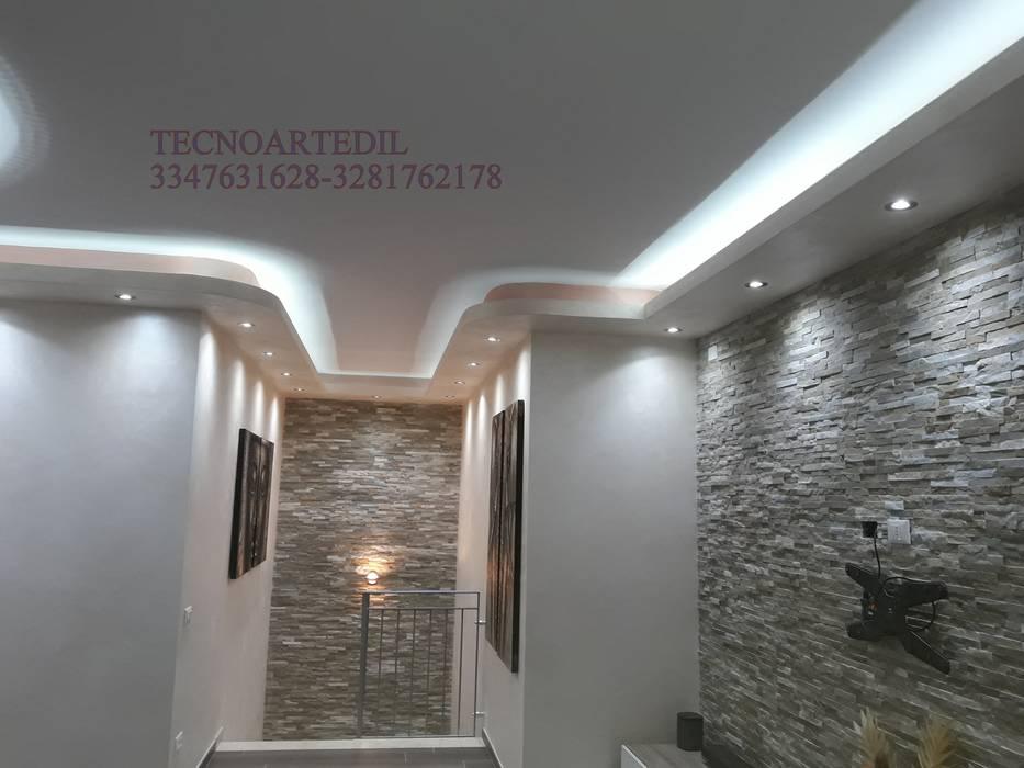 Veletta in cartongesso Moderna Milano Monza illuminata con LED. TecnoArtEdil Ingresso, Corridoio & ScaleAccessori & Decorazioni Beige
