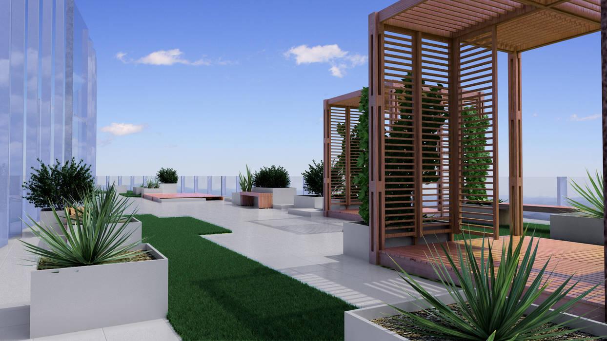 Proyecto Portal Inmobiliario Balcones y terrazas modernos de Ensamble Arquitectura y Diseño Ltda. Moderno Madera maciza Multicolor