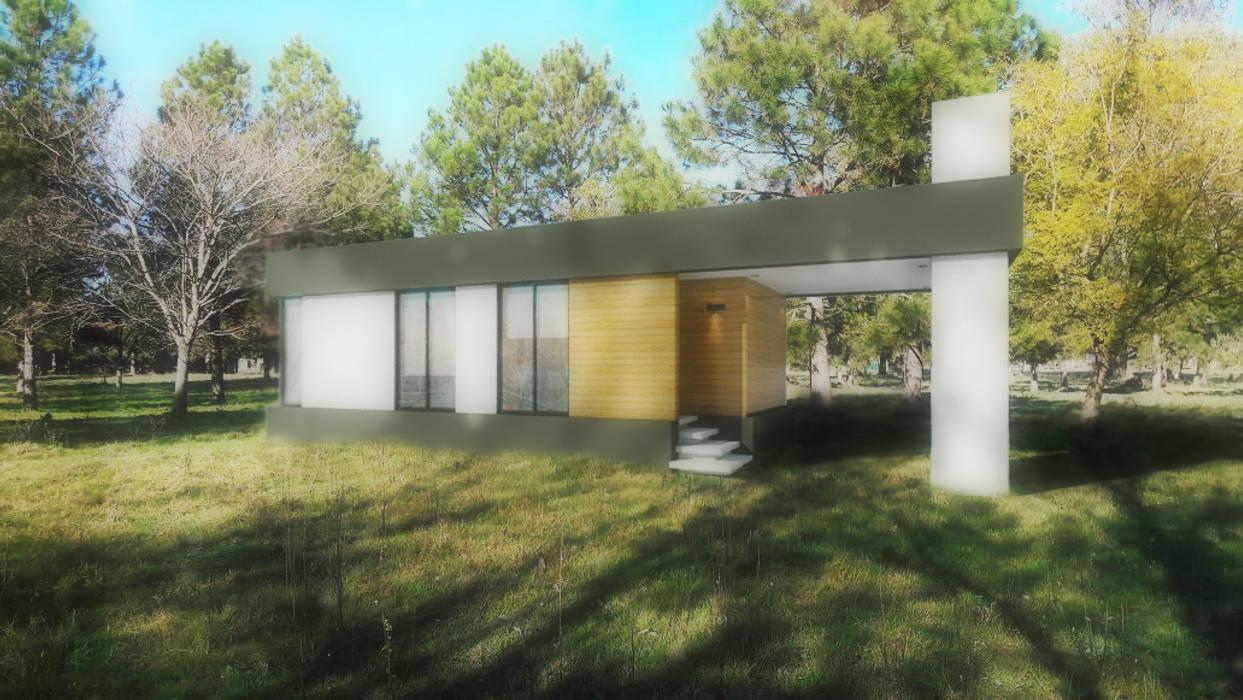 FACHADA / VIVIENDA M / EDICION CAPSULA / TU CASA: Casas de estilo moderno por VHA Arquitectura
