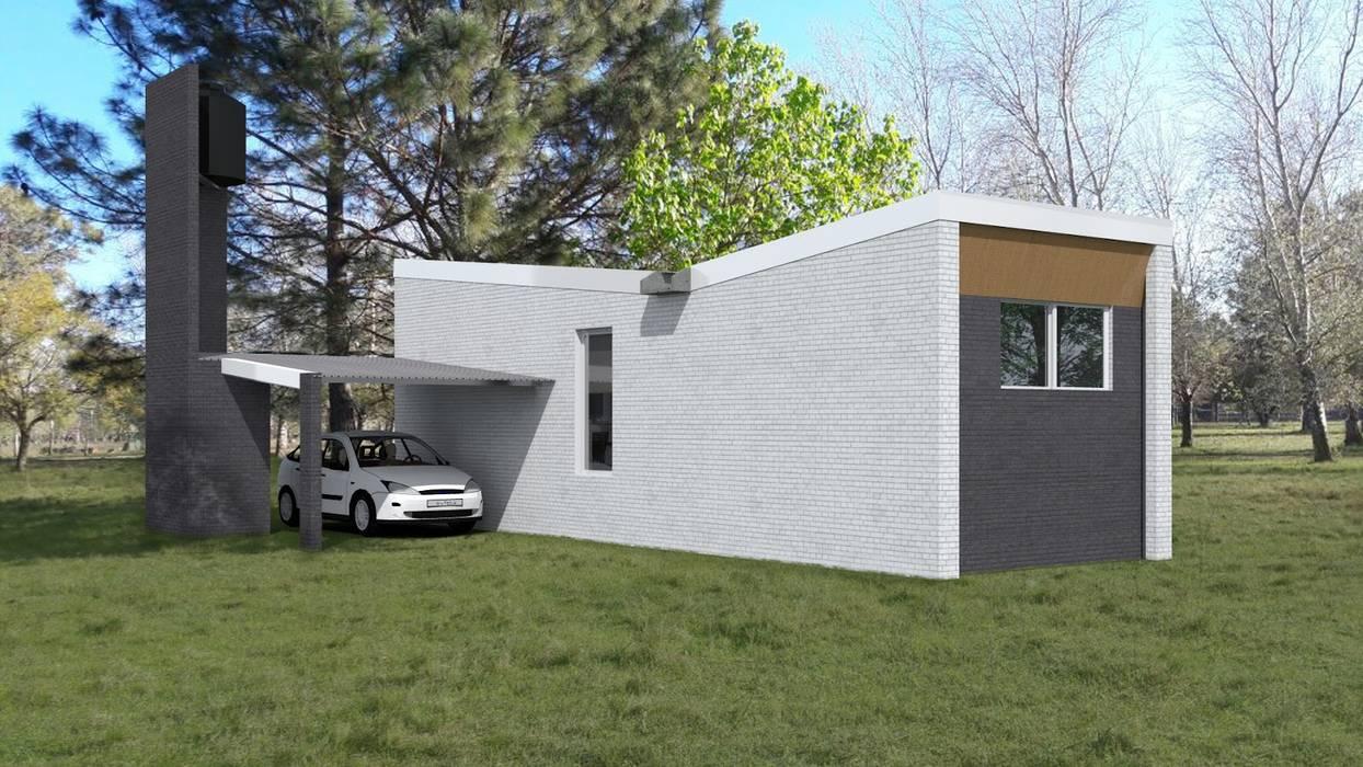 FACHADA / VIVIENDA F / EDICION CAPSULA / TU CASA Casas modernas: Ideas, imágenes y decoración de homify Moderno