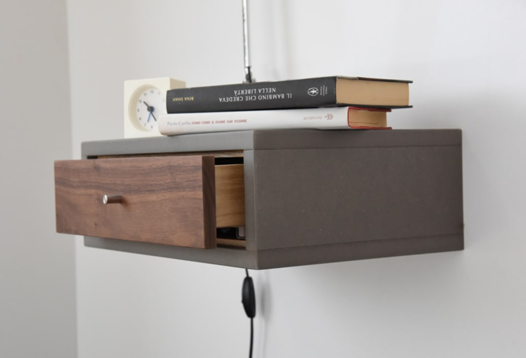 Floating nightstand with drawer in walnut scandinavian ...