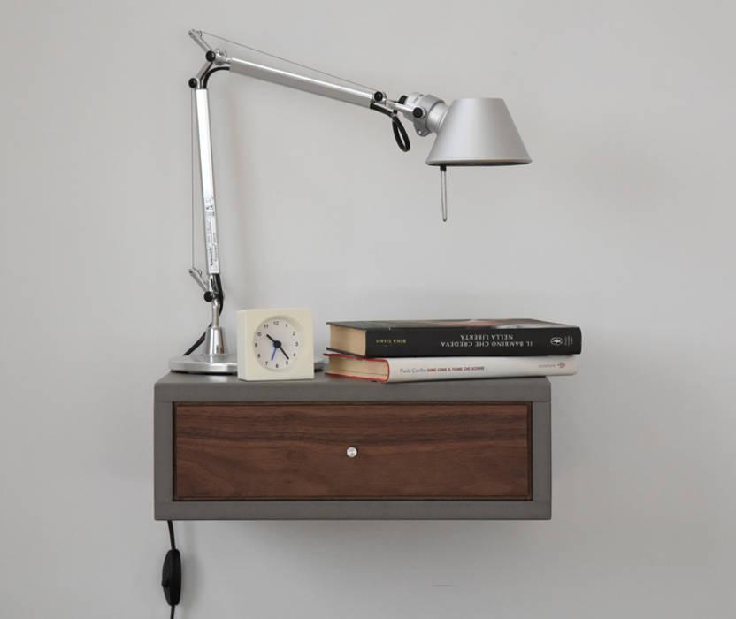 Floating nightstand with drawer in walnut scandinavian ...
