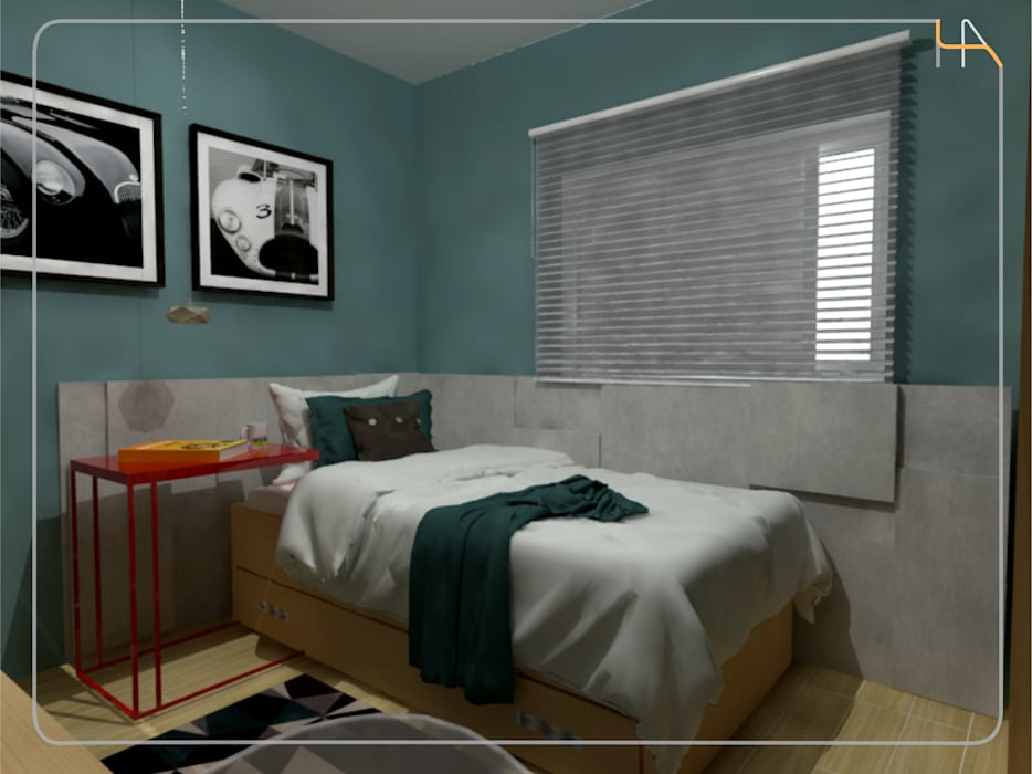 Humanize Arquitetura Industrial style bedroom