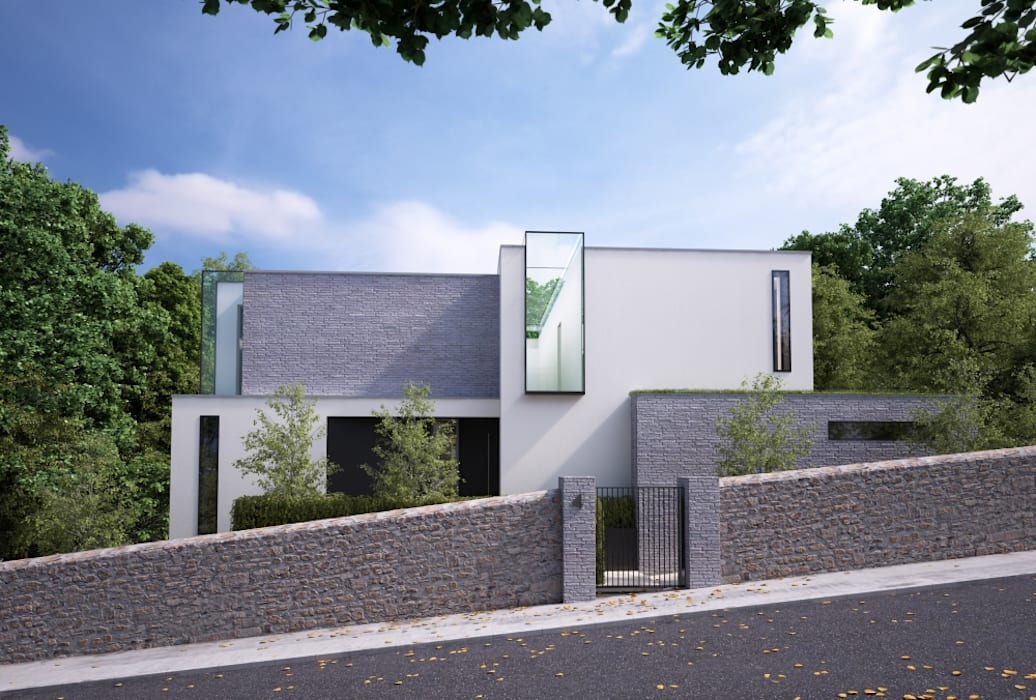 This 3 floor residence fully adopts the qualities of a steeply sloping site with views over Dublin Bay:  Houses by Des Ewing Residential Architects, Modern