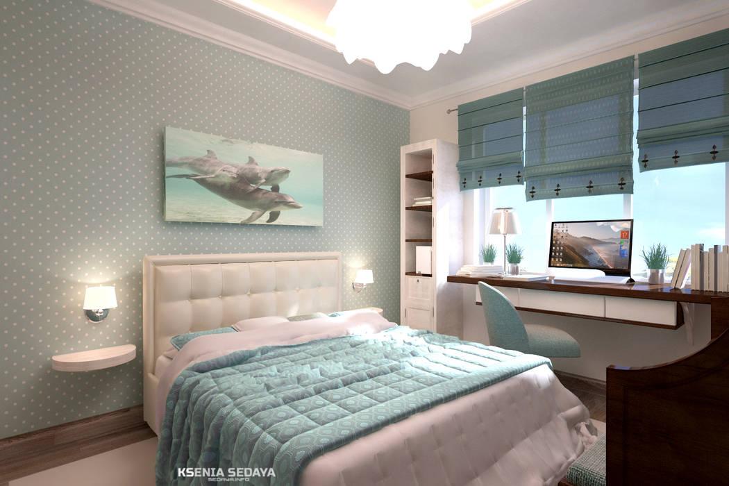 Дизайн морского интерьера трехкомнатной квартиры: Спальни в . Автор – Студия Ксении Седой, Эклектичный