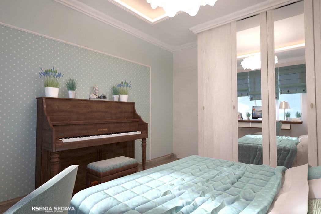 Дизайн морского интерьера трехкомнатной квартиры Студия Ксении Седой Спальня в эклектичном стиле Бирюзовый