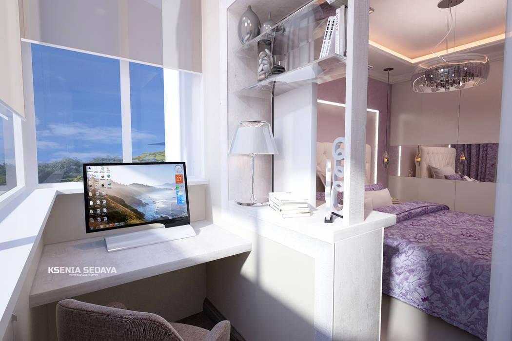 Дизайн морского интерьера трехкомнатной квартиры Студия Ксении Седой Балконы и веранды в эклектичном стиле Бежевый